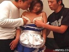 Blue satin maid clothing on cute Japanese woman